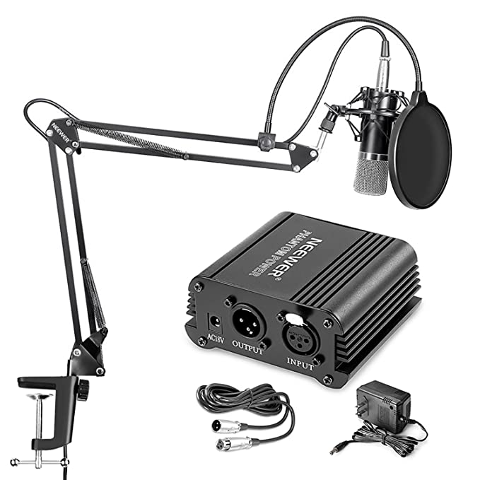 Review Neewer NW-700 Professional Condenser Microphone & NW-35 Suspension Boom Scissor Arm Stand with XLR Cable and Mounting Clamp & NW-3 Pop Filter & 48V Phantom Power Supply with Adapter Kit