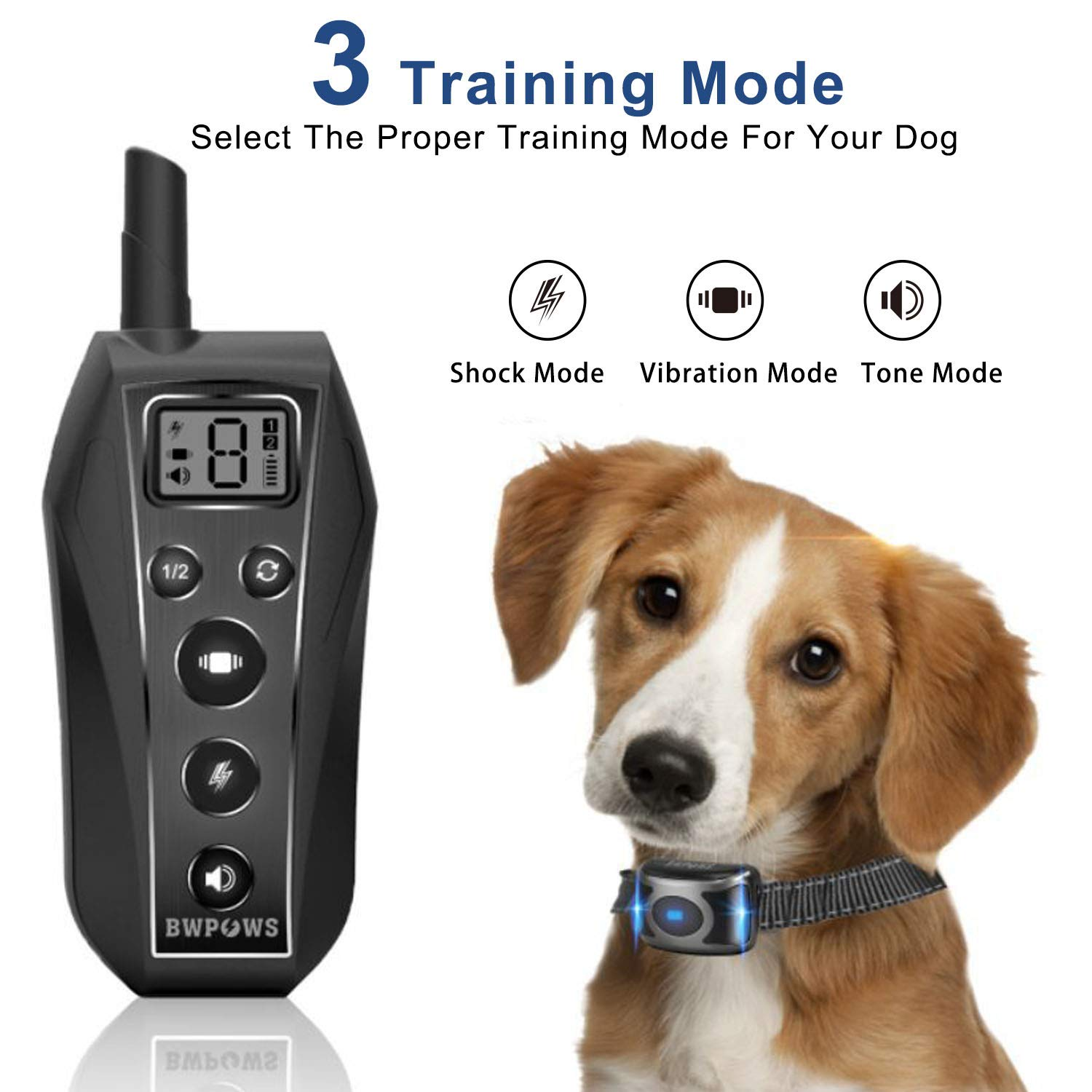 Bwpows Dog Training Collar with 3 Training Modes-Beep Vibration Shock,up to 1968Ft Long Range Remote Control,100 Waterproof Dog Shock Collar for for Small, Medium, Large Dogs,2019 Newest Design