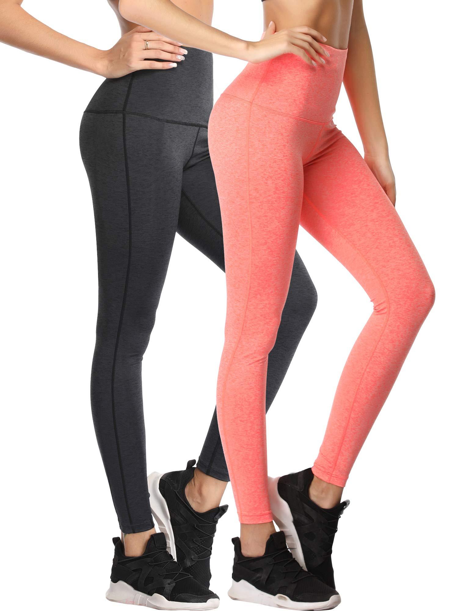 Cadmus Tummy Control Workout Leggings for Yoga Womens,1101,Dark Grey & Orange,Small