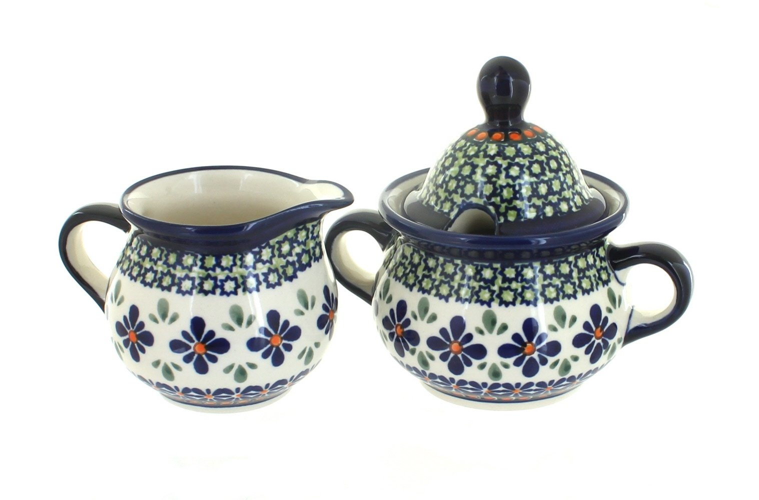 OKSLO Polish pottery mosaic flower sugar & creamer set