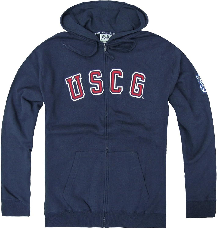 X-Large RD Genuine US Coast Guard Full Zip Fleece Military Hoodies Navy Blue