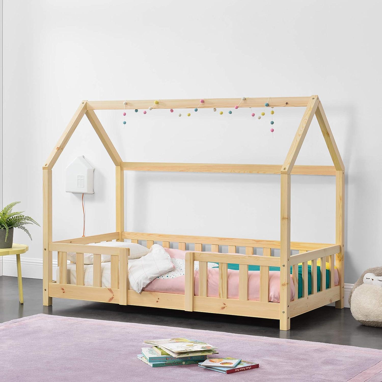 Cama para niños de Madera Pino 70 x 140 cm Cama Infantil con ...