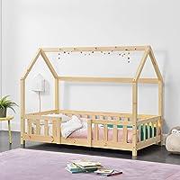 Cama para niños de Madera Pino 70 x 140 cm Cama Infantil con Reja Protectora Forma de casa Casita Pino Natural