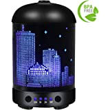COOSA 100ml UK Plug Standard Ultrasonic Humidifier / Aromatherapy Essential Oil Diffuser / Empire State Building Multi-colored LED Light for Home & Office (Black)