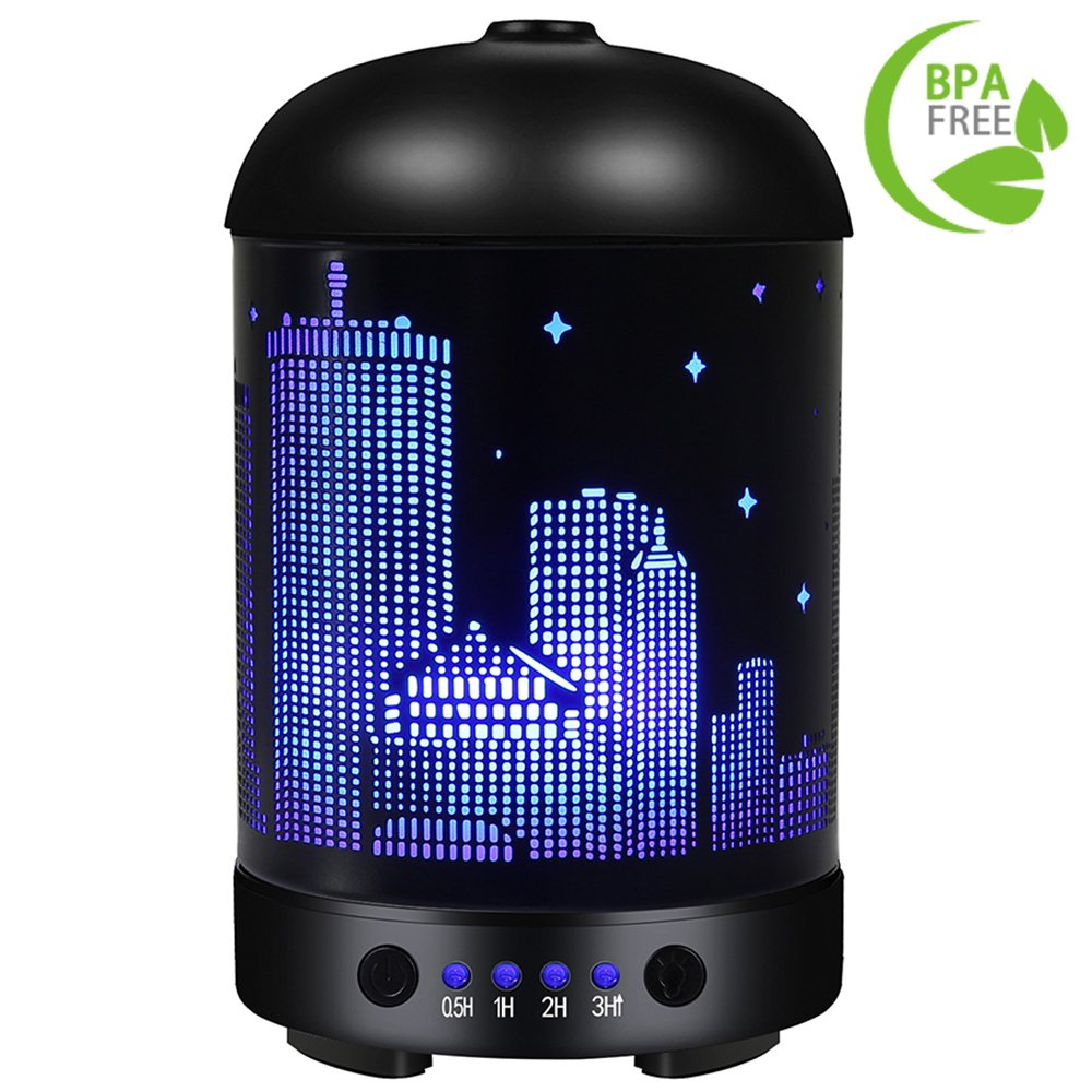 COOSA Empire State Building Designed 100ml Ultrasonic Essential Oil Diffuser Aromatheraphy Cool Mist Humidifier with Colorful LED Light for Home Office Living Room Yoga (Black 1) by COOSA