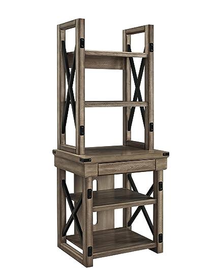 Ameriwood Home Wildwood Wood Veneer Audio Stand Bookshelf Rustic Gray