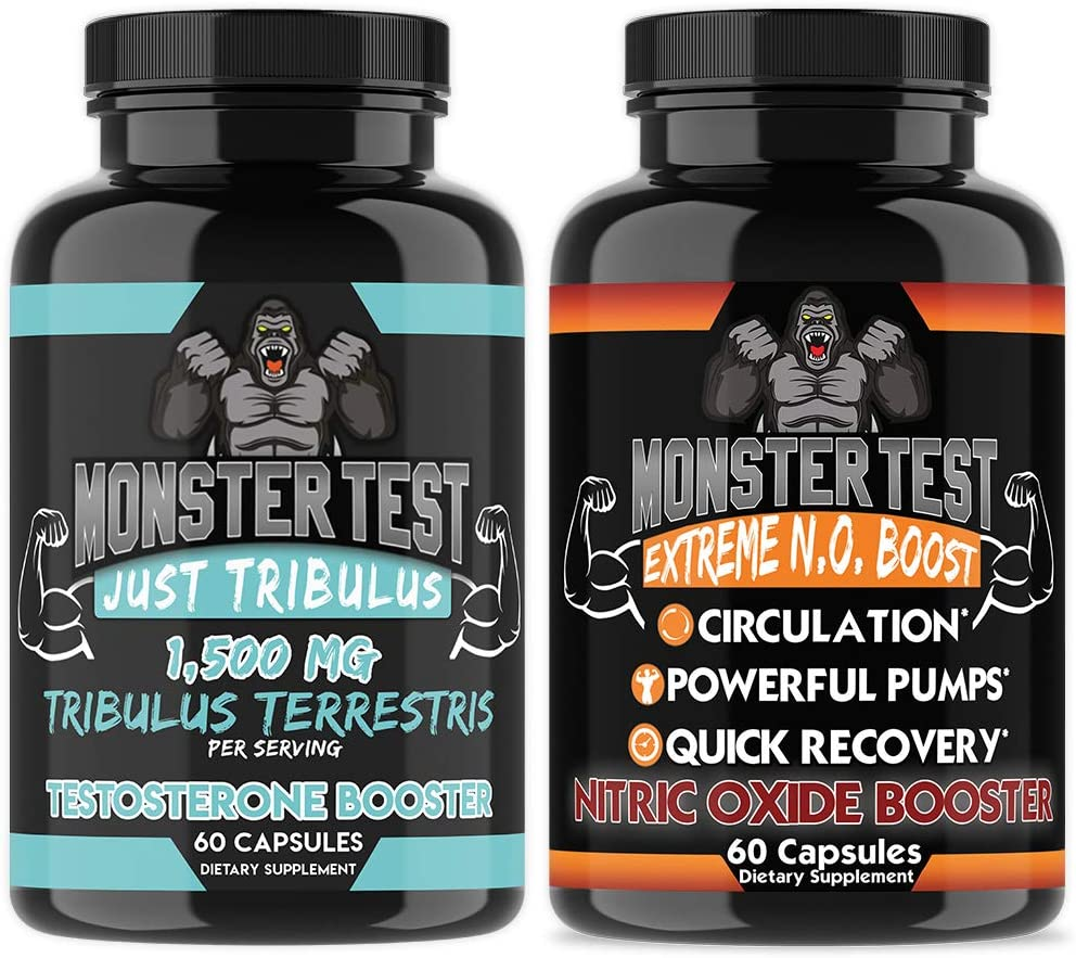 Monster Test Just Tribulus Test Booster & Monster Nitric Oxide NO Booster for Muscle Growth, Endurance, Recovery, Strength, Mass & Drive (2-Pack)