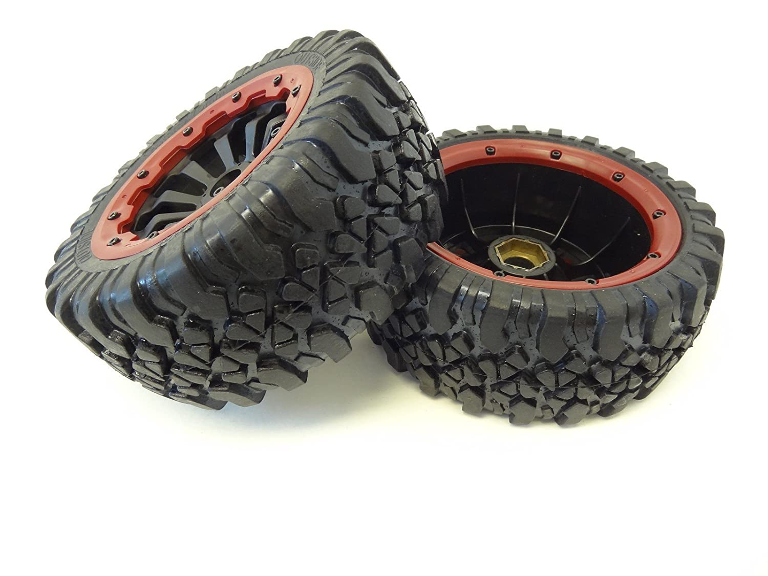 Fits LOSI 5IVE T and Rovan LT 4WD Truck King Motor X2 Wheels red set of 2