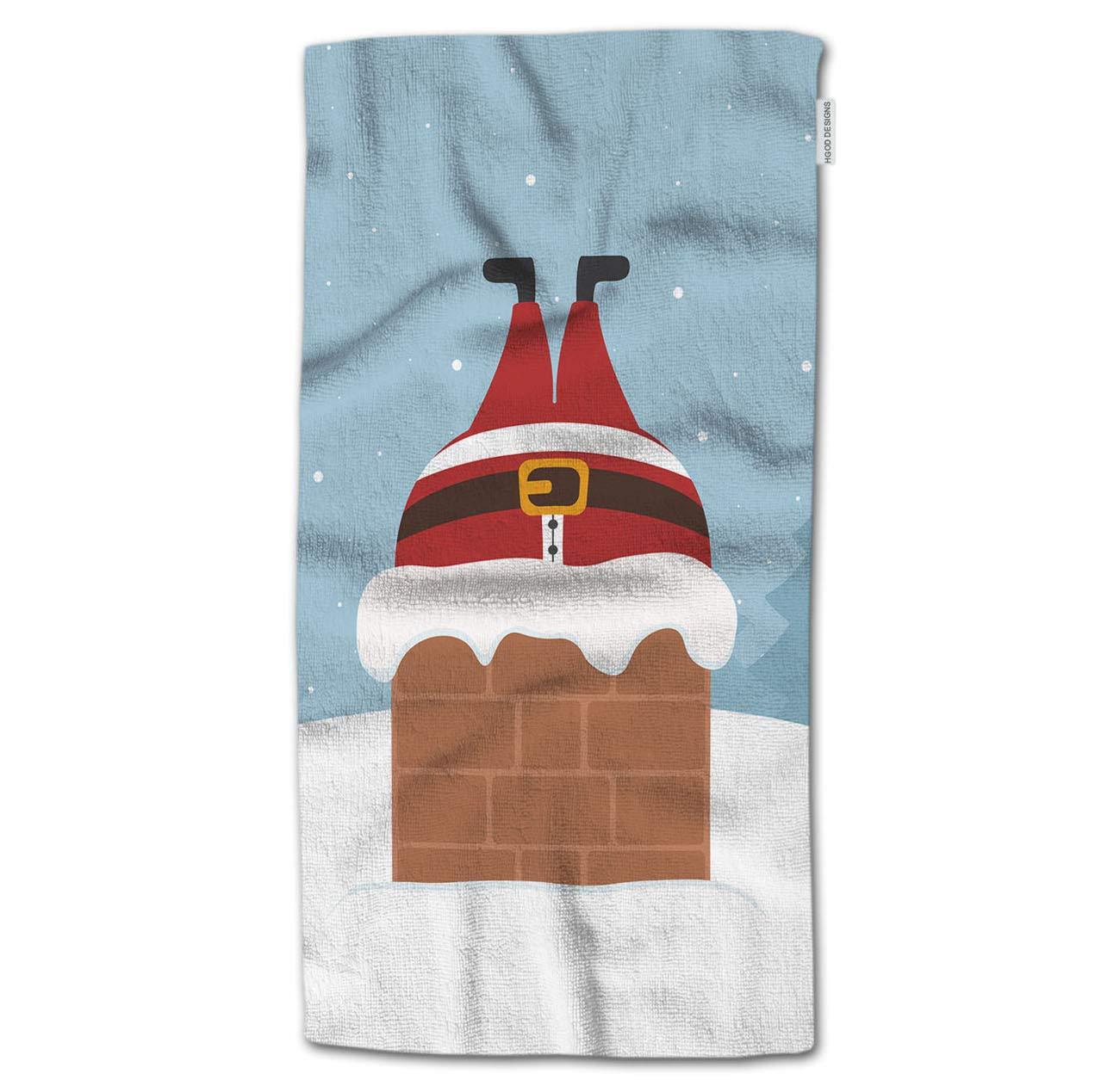 HGOD DESIGNS Bath Towel Christmas,Santa Stuck in Chimney Winter Snowy Landscape Bath Towel Throw Blanket Beach Towel 64'' Lx32 W