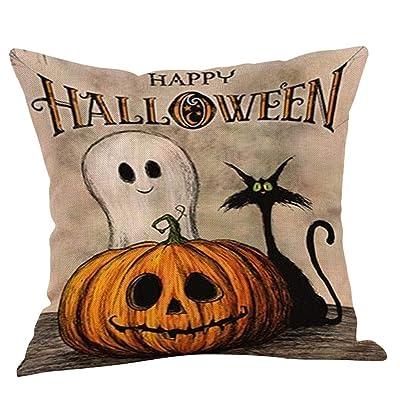 Alelife Fall Halloween Pumpkin Pillow Case Waist Throw Cushion Cover Sofa Home Decor- Cushion Cover Bench Bedroom Car with 18x18 : Garden & Outdoor
