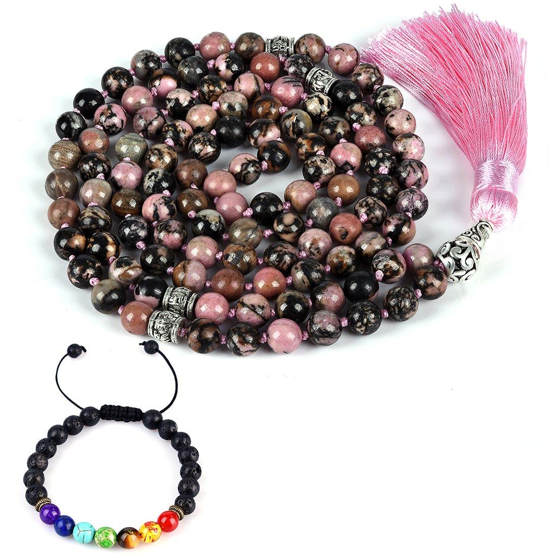 CAT EYE JEWELS 8mm Mala Beads Necklace Yoga Meditation 108 Hand Knotted Rhodonite Japa Mala Buddhist Prayer Beads Tassel Necklace Healing Lava Rock Beads Diffuser Bracelet