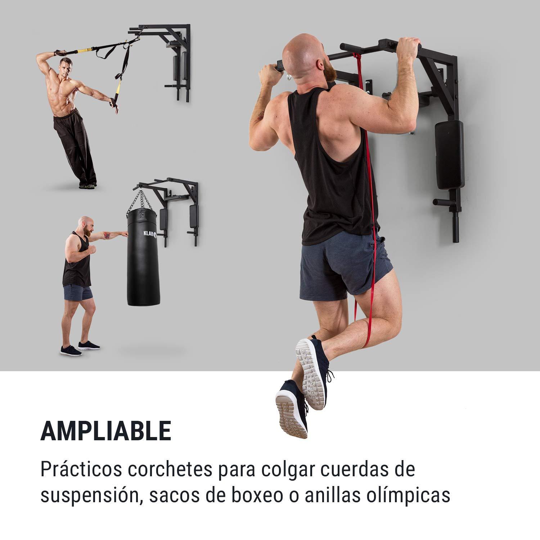 Abdomen y piernas Revestimiento agarres de Goma Carga m/áx.: 200 kg Acero Q235 Negro Hombros Klarfit Hangman MultiGym M/áquina de dominadas y dips Entrenamiento m/últiple: Brazos Espalda