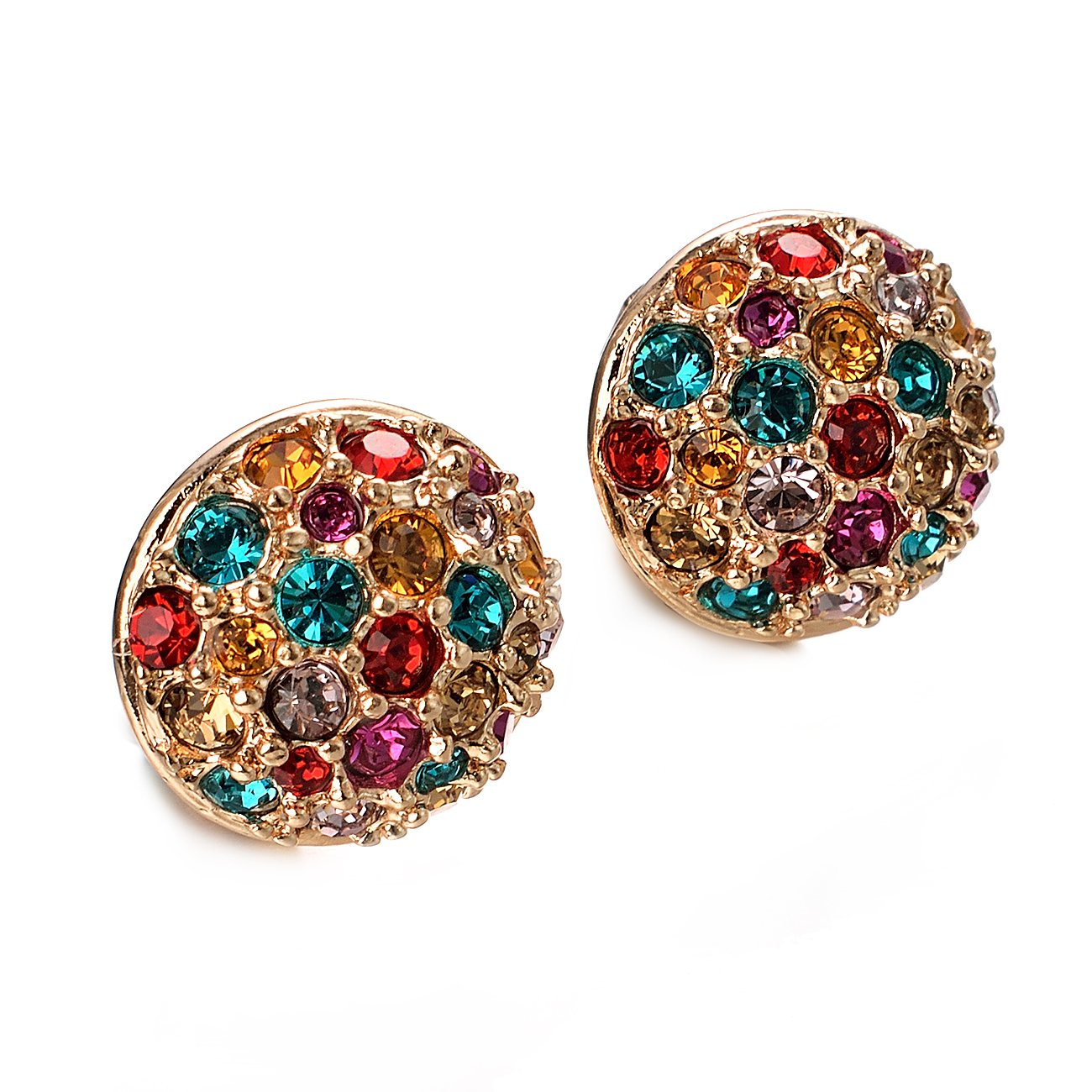 VOGEM Sparkly Clip On Earrings For Women 18K Gold Plated Round Austrian Crystal Statement Cluster Costume Earrings Clip On