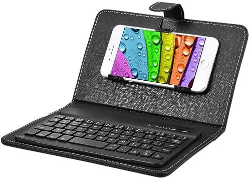 Eboxer Funda Protectora con Teclado Desmontable Bluetooth Portátil para Teléfonos, Soporte Incorporado de Teléfonos de 4.5-6.8in para iOS/Windows/Android(Negro): Amazon.es: Electrónica