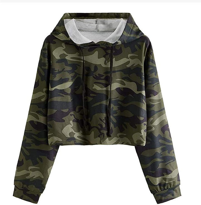Kapuzenpullover Sweatshirt mit Camouflage Print, Damen Langarm Weich Bluse, Langarmshirts mit entspannte Hemden Hoodie Tops, fur Kapuze Kordelzug Pullover Grau
