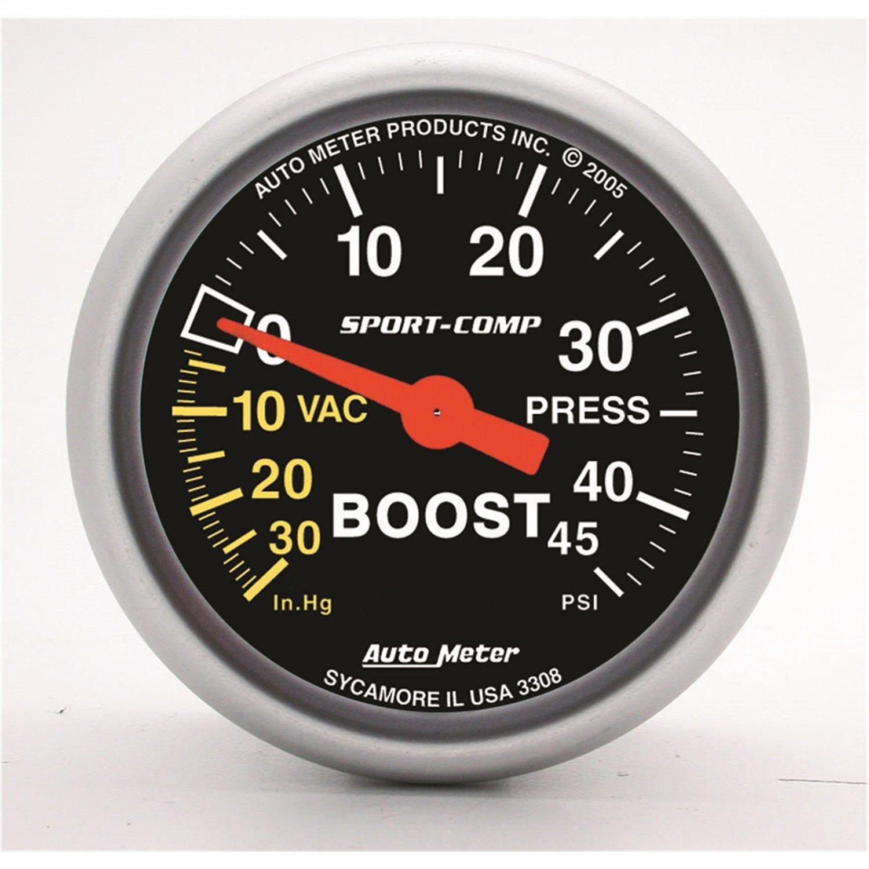 Auto Meter 3308 Sport-Comp Mechanical Boost/Vacuum Gauge