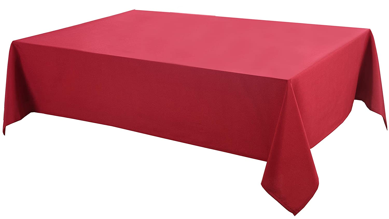 Biscaynebay Fabric Table Cloth, Water Resistant Spill Proof Fabric Tablecloths for Dining, Kitchen, Wedding and Party, 52X70, Red