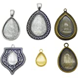 GraceAngie Mixed 12 Sets Teardrop Bezel Pendant Trays with Glass Dome Tiles Cabochon 14x11mm / 25x18mm Blank Cameo Bezel Cabochon Settings for DIY Jewelry Making