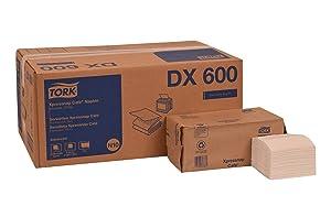 "Tork DX600 Advanced Xpressnap Café Dispenser Napkin, Interfold, 1-Ply, 8.5"" Length x 8.5"" Width, White (Case of 12 Packs, 500 per Pack, 6,000 Napkins)"