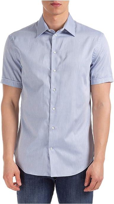 Emporio Armani Hombre Camisa de Manga Corta Fancy Blue 40 cm: Amazon.es: Ropa y accesorios