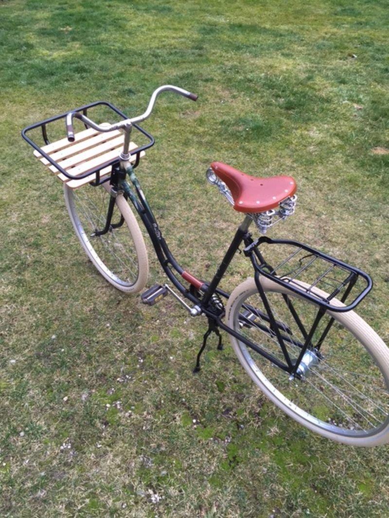 Bicicleta delantera VR bicicleta holandesa de madera negro con soporte de montaje en Omafiets: Amazon.es: Deportes y aire libre