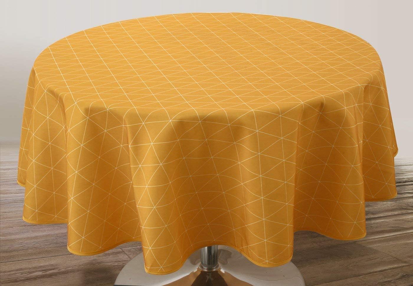 Le linge de Jules Nappe Anti-Taches Tomette Gris Taille Ovale 150x240 cm
