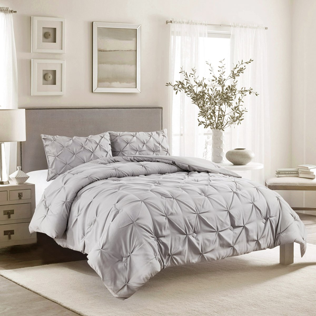 Jackson Hole Home 3 PC Elegant Original Pinch Pleat Puckering Comforter Set, Light Gray, King