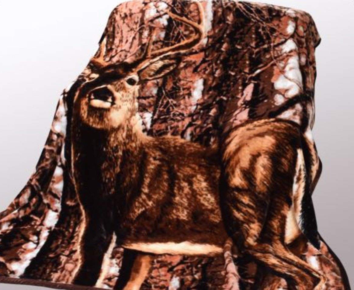 Wild Animal Deer Print Blanket , TV, Cabin, Couch,Plush,Warm, Bedcover Throw , Full Queen, 75''Wx90''H , Silky Mink Cozy, For Girls,Boys, Kids,Men,Women