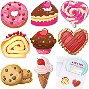 Valentine's Day Cards for Kids Set with 32 Envelopes and 32 Bonus Stickers, 8 Different Cute Food Designs Greeting Exchange Cards for School Valentine's Day Supplies Children Party Favors