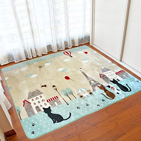 Amazon Com Kepswet Cute Cat Non Slip Living Room Rugs Baby Nursery