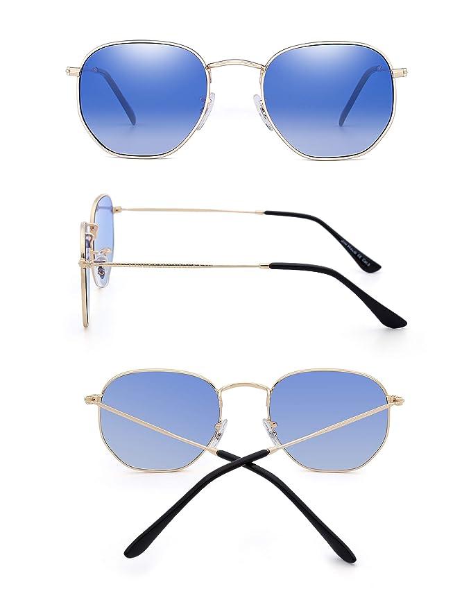 Amazon.com: Gafas de sol pequeñas con espejo geométrico de ...