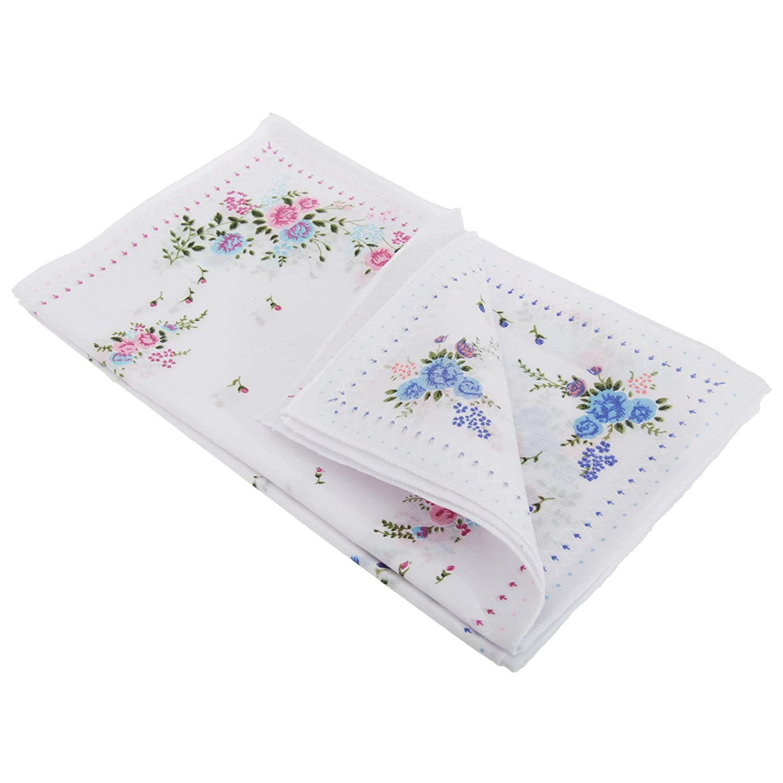 One Size Womens//Ladies Floral Cotton Rich Handkerchiefs Diamond Border Pack Of 8