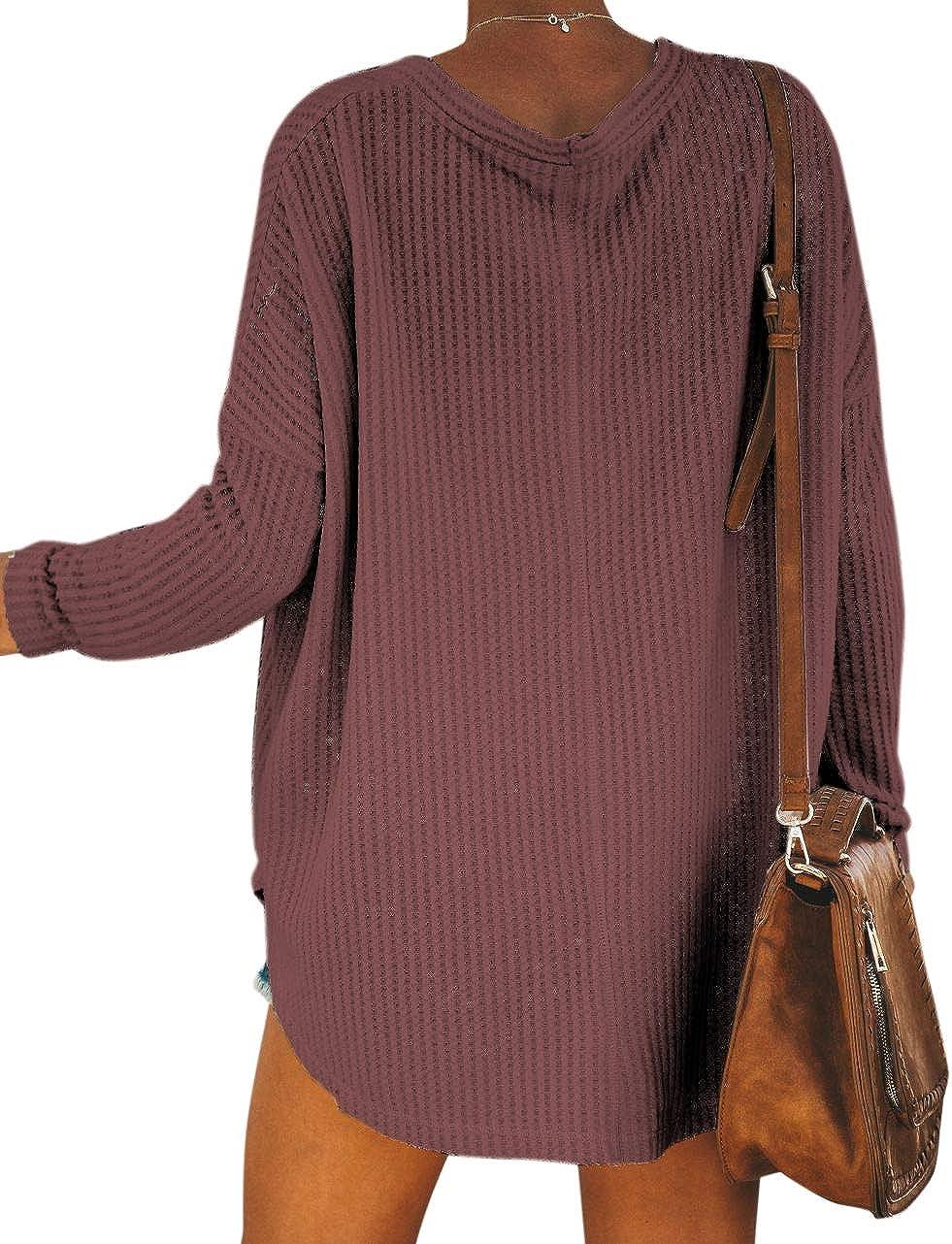 YOINS Maglione Donna V-Collo Cardigan Allentata Maglia Knitted Pullover Autunno Inverno Manica Lunga con Orlo Irregolare Top Lavorato