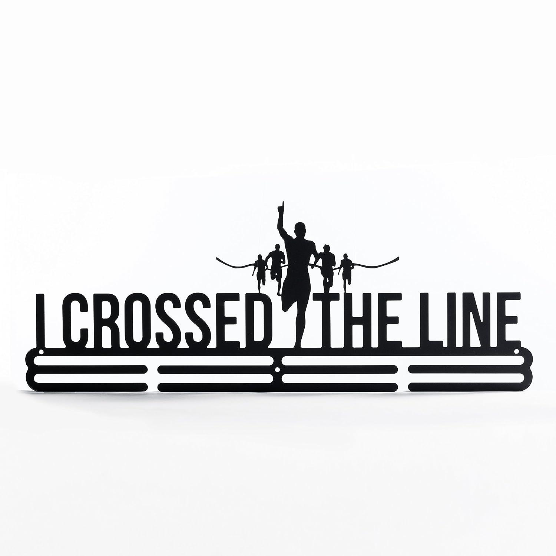 Soporte para colgar medallas con el texto en inglés «I crossed the line», en acero al carbono de dos capas para montar en la pared, exhibidor de medallas deportivas shangmaidianzi