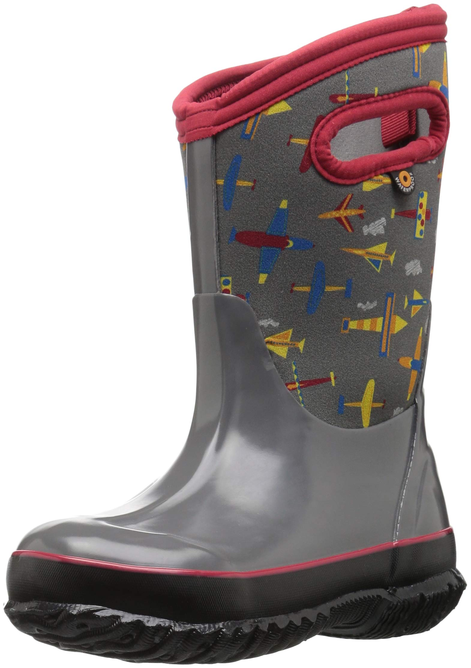 Bogs Classic High Waterproof Insulated Rubber Neoprene Rain Boot Snow, Planes Gray Multi, 3 M US Little Kid