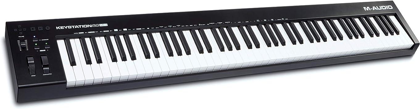 M-Audio Keystation 88 MK3 - Teclado controlador MIDI USB con 88 teclas semipesadas para manejar sintetizadores virtuales y parámetros de DAW