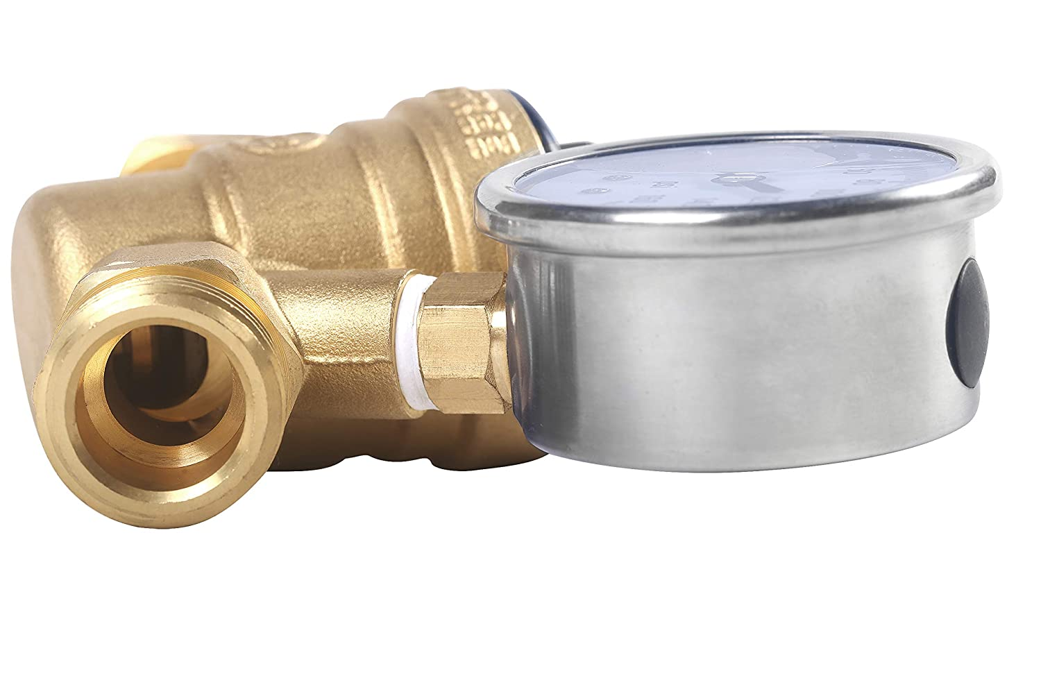 AECOJOY Water Pressure Regulator Brass Lead Free Adjustable Plumbing with 160 PSI Guage NH Thread for RV