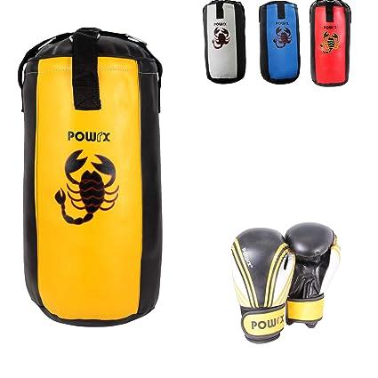POWRX Boxsack Set inkl. Boxhandschuhe I Boxset für Kinder Jugendliche I 2, 2,5 und 3 Fuß