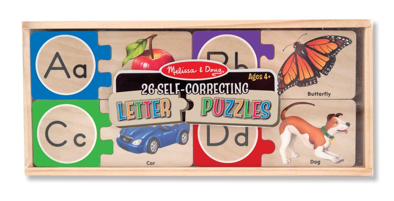amazoncom melissa doug self correcting alphabet wooden puzzles with storage box 52 pcs melissa doug 2541 toys games