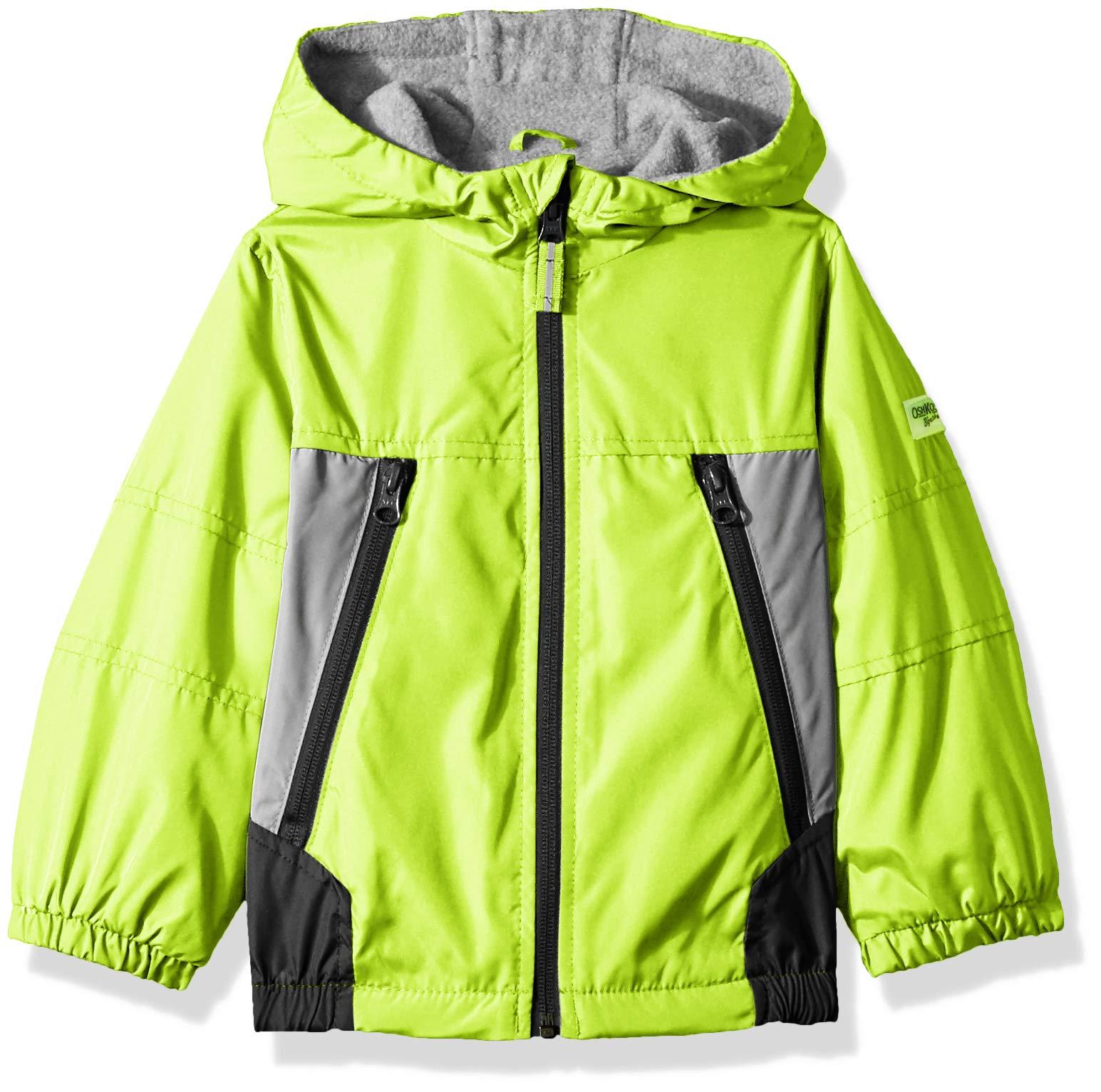 Osh Kosh Boys' Toddler Midweight Jacket, Radioactive Green/Silver/Grey 2T