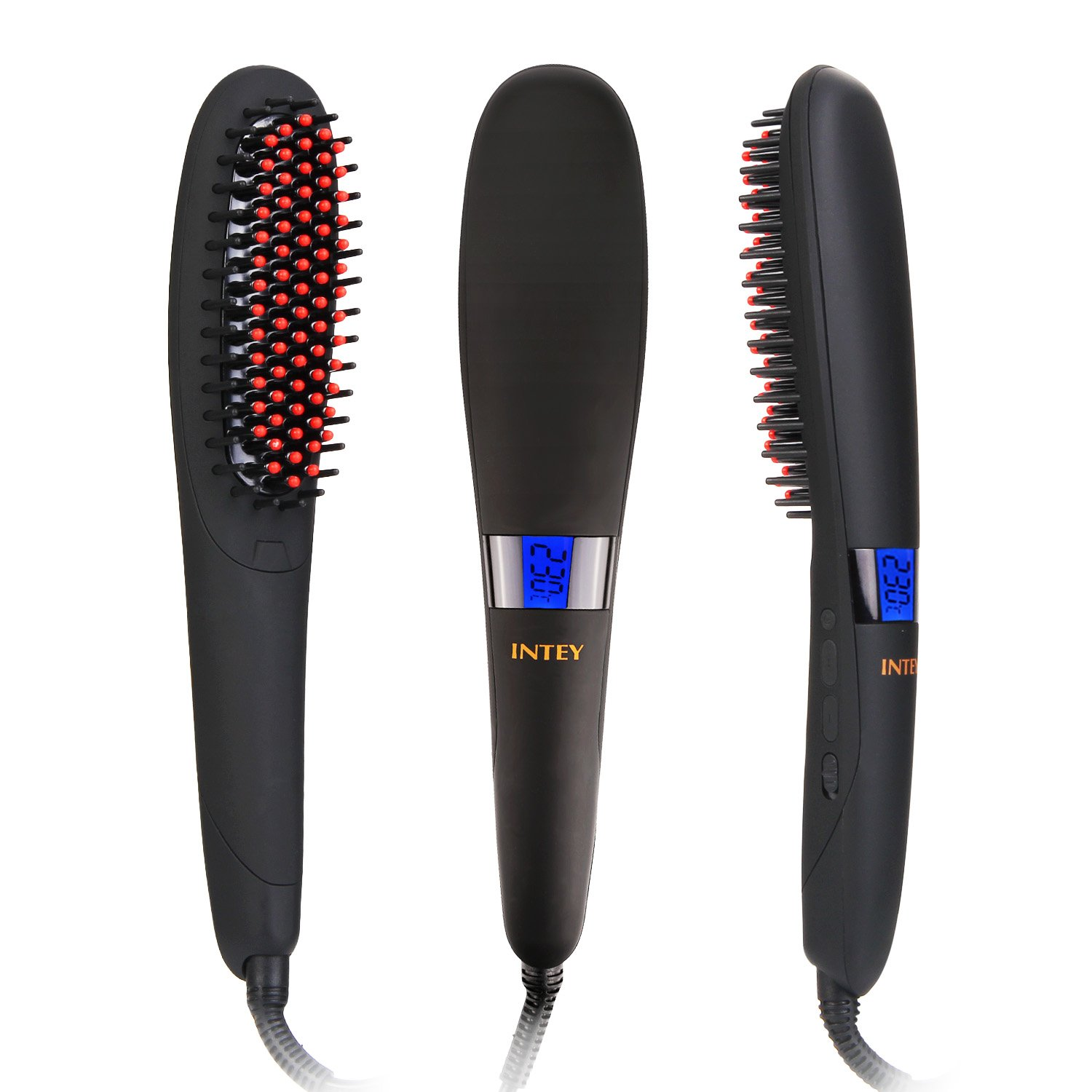 intey hair straightener brush ceramic