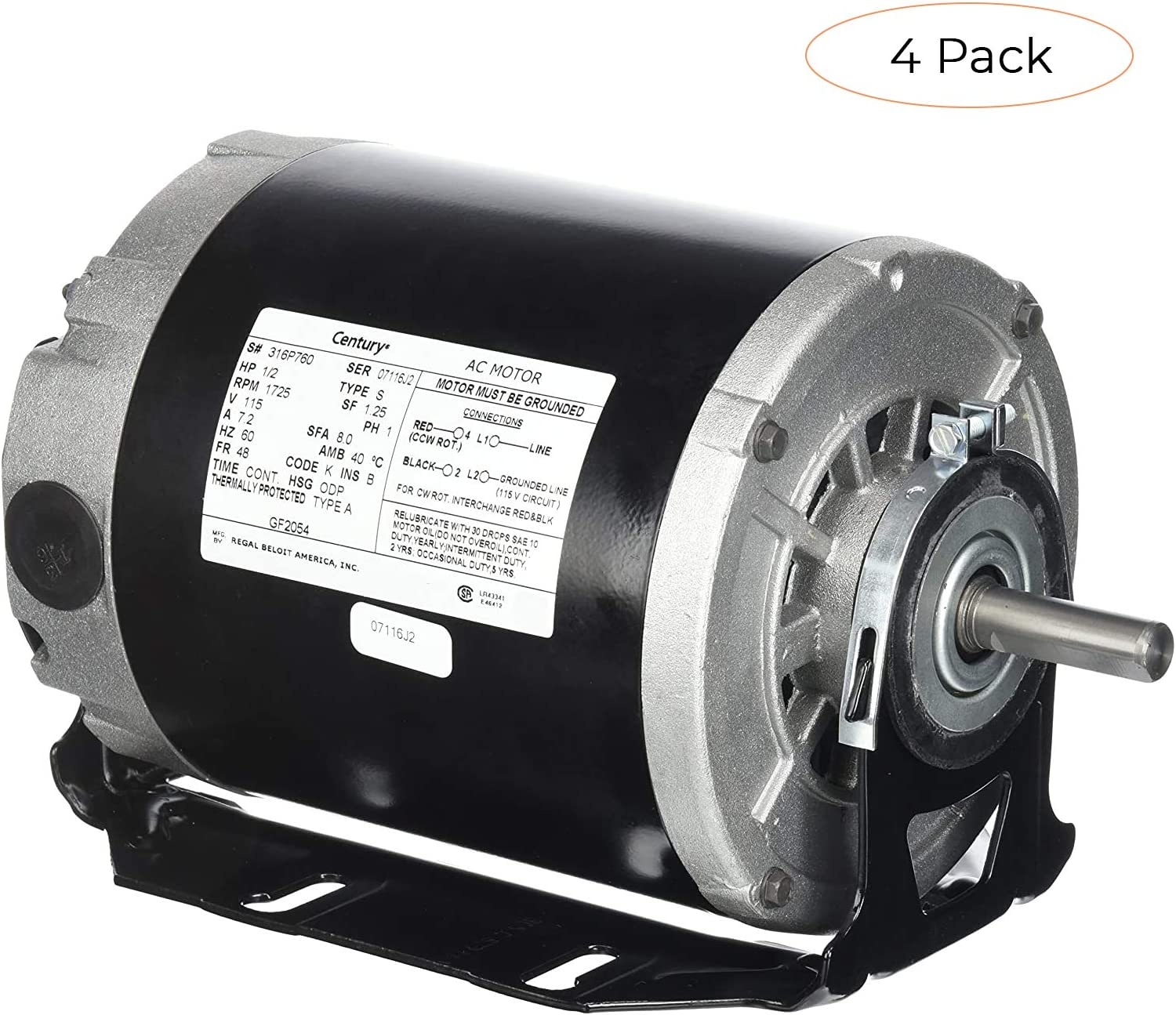 [SCHEMATICS_4US]  Century formerly AO Smith GF2054 1/2 hp, 1725 RPM, 115 volts, 48/56 Frame,  ODP, Sleeve Bearing Belt Drive Blower Motor (Fоur Расk) - - Amazon.com | 115 Volt Ac Motor Wiring Diagram |  | Amazon.com