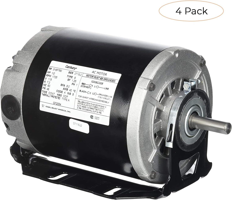 Century formerly AO Smith GF2054 1/2 hp, 1725 RPM, 115 volts, 48/56 Frame,  ODP, Sleeve Bearing Belt Drive Blower Motor (Fоur Расk) - - Amazon.comAmazon.com