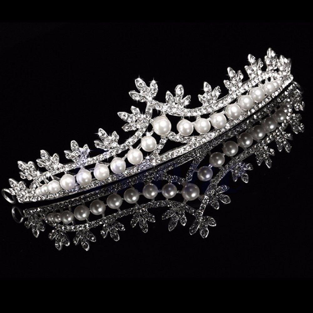 Abeillo Hochzeit Braut Perle Kronen-Stirnband Tiara Charmantes Strass Kopfstück Silber