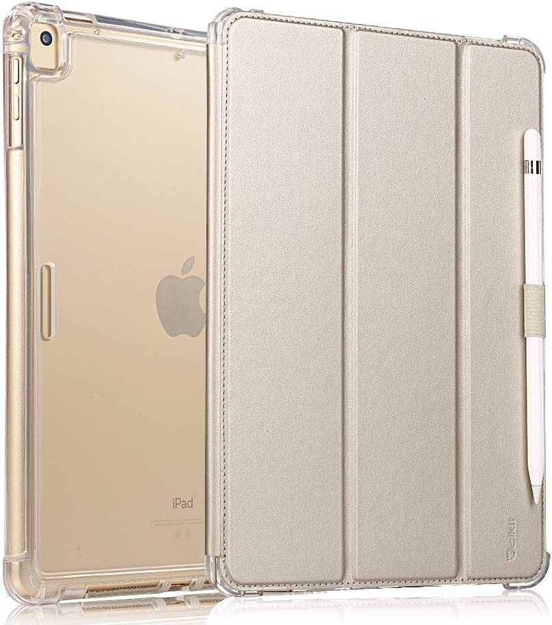 Valkit iPad Pro 12.9 Case 2017/2015 (Old Model,1st & 2nd Gen) - iPad Pro 12.9 Inch Cover Smart Folio Stand Protective Heavy Duty Rugged Armor Cases with Auto Wake/Sleep & Pencil Holder, Champagne Gold