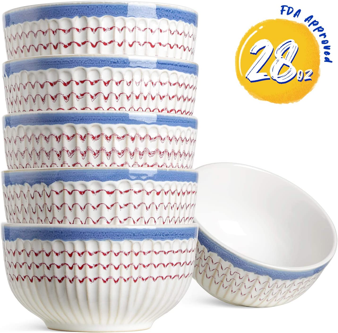 LE TAUCI Ceramic Soup Bowls, 28 Ounce Deep Bowls for Cereal, Salad, Chili, Set of 6, Boho Style