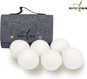 Woolous Wool Dryer Balls Organic,Premium XL 6 Pack New Zealand Non-Toxic Merino,Reusable Natural Fabric Softener, Reduce Wrinkles, Saves Drying Time Felted Laundry Dryer Ball (2.75 inch)