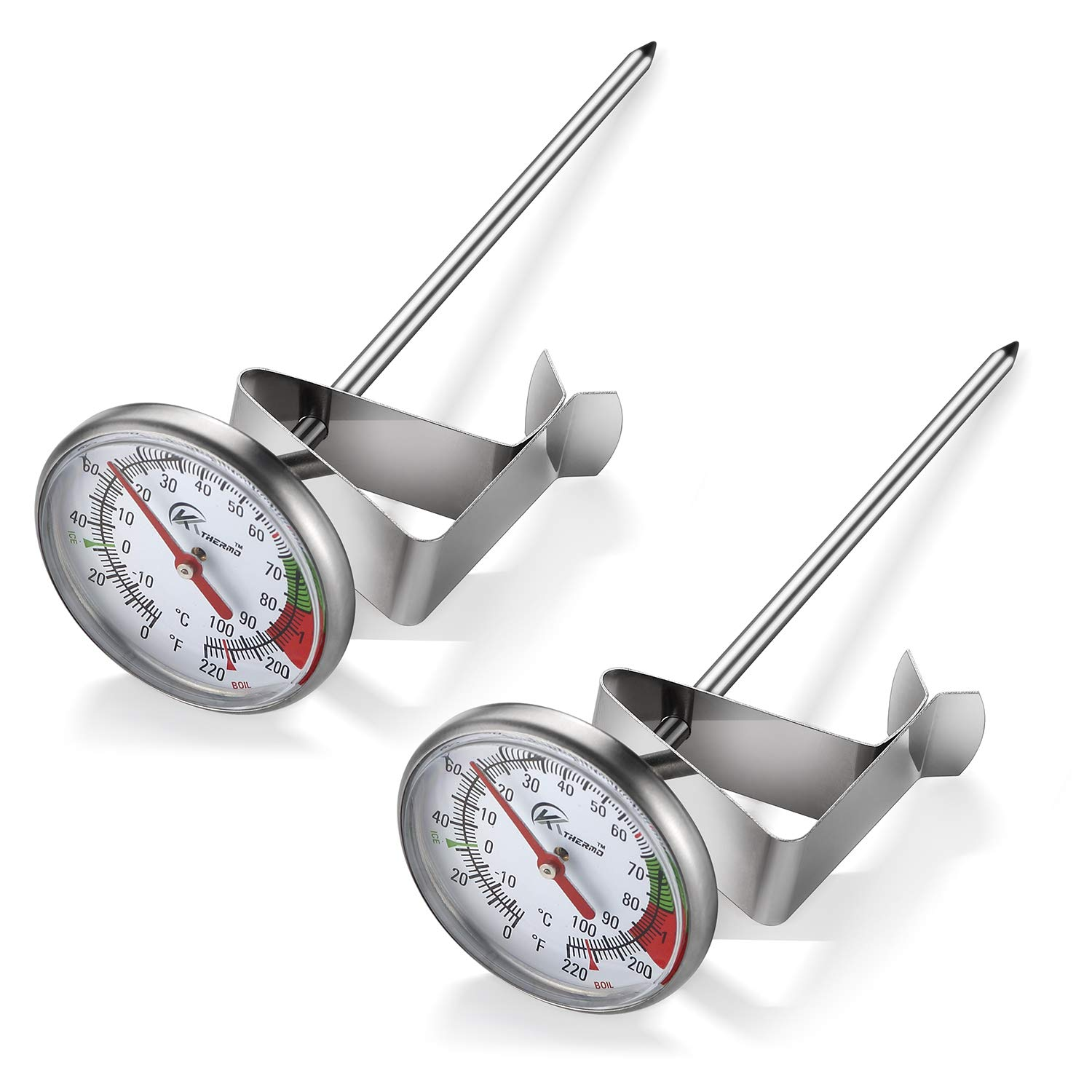 KT THERMO Instand Read 2-Inch Dial Thermometer(2 Pack),Best For The Coffee Drinks,Chocolate Milk Foam