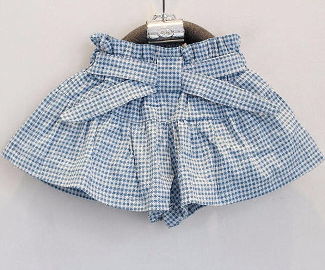 FEITONG Kids Girls Cute Bow Girl Pattern Shirt Top Grid Shorts Set Clothing Age:2-3Y White