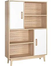 Homfa Sideboard Cupboard Storage Cabinet Wooden Storage Unit Display Shelf 2 Doors 4 Racks Dinning Living Room Furniture 80x24x119cm